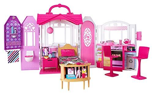 Barbie CHF54 - Glam Ferienhaus, portables Puppenhaus mit 3 Zimmer, 20+ Zubehrteile, ca. 76 cm breit mit Tragegriff, Mdchen Spielzeug ab 3 Jahren
